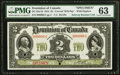 Canadian Currency, DC-22a-iS $2 1914 Specimen PMG Choice Uncirculated 63.. ...