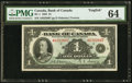 Canadian Currency, BC-1 $1 1935 PMG Choice Uncirculated 64.. ...
