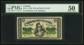 Canadian Currency, DC-1c 25 Cents 1870 PMG About Uncirculated 50.. ...