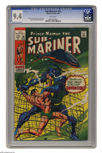 The Sub-Mariner #10 (Marvel, 1969) CGC NM 9.4 White pages. Gene Colan cover. Colan and Dan Adkins art. Overstreet 2005 N...