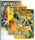 Golden Age (1938-1955):War, Wings Comics Group (Fiction House, 1947-48). This group includes#88 (GD), 90 (GD, cover detached), and 98 (VG-). Approximat...(Total: 3 Comic Books Item)
