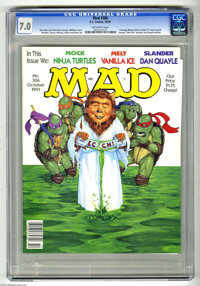 Mad #306 (EC, 1991) CGC FN/VF 7.0 Off-white pages. Stan Hart and Tom Koch stories. Robert Williams cover. Mort Drucker...