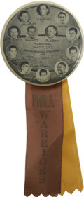 Basketball Collectibles:Others, 1955-56 Philadelphia Warriors Championship Button with Ribbon. Theoffered button is a reminder of days past, when the Phi...