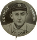 Baseball Collectibles:Others, 1910-12 Sweet Caporal Pin (P2) Ty Cobb . Utilizing the same portrait seen on this Dead Ball legend's T205 card is this marv...