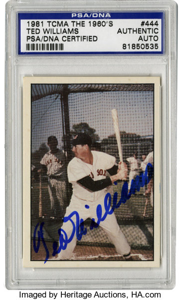 1981 Tcma The 1960s Signed Ted Williams 444 Psa Authentic Lot