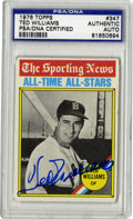Autographs:Sports Cards, 1976 Topps Signed Ted Williams #347, PSA Authentic. The Splendid Splinter Ted Williams has here deposited a near-flawless a...