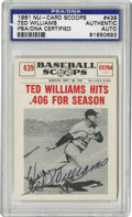 Autographs:Sports Cards, 1961 Nu-Cards Scoops Signed Ted Williams #439, PSA Authentic.Beautiful black ink signature resides on this vintage card fr...