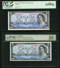 Canadian Currency, Canada $5 1954 Devil's Face Two Different Charlton Numbers.. ... (Total: 2 notes)
