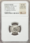 Ancients:Roman Imperial, Ancients: Elagabalus (AD 218-222). AR denarius (20mm, 3.15 gm, 2h).NGC Choice AU 4/5 - 4/5....