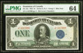 Canadian Currency, DC-25c $1 1923 PMG Choice Uncirculated 64.. ...