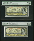 Canadian Currency, BC-33b $20 1954 Devil's Face, Two Examples PMG About Uncirculated 55 EPQ.. ... (Total: 2 notes)