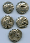 Ancients:Ancient Lots  , Ancients: ANCIENT LOTS. Greek. Macedonian and Seleucid Kingdoms.Ca. 336-187 BC. Lot of five (5) AR tetradrachms. Good-Fine, testcuts, ... (Total: 5 coins)