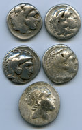Ancients:Ancient Lots  , Ancients: ANCIENT LOTS. Greek. Macedonian and Seleucid Kingdoms.Ca. 336-187 BC. Lot of five (5) AR tetradrachms. VG-Fine, testcuts, ba... (Total: 5 coins)