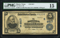 Moore, TX - $5 1902 Plain Back Fr. 600 The Moore NB Ch. # (S)8817 PMG Choice Fine 15