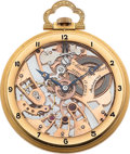 Timepieces:Pocket (post 1900), Mathey-Tissot Very Fine Rose Gold Skeletonized Watch. ...