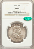 Franklin Half Dollars, 1956 50C MS66 NGC. CAC. NGC Census: (639/40). PCGS Population: (710/23). CDN: $70 Whsle. Bid for problem-free NGC/PCGS MS66...