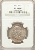 Franklin Half Dollars, 1957-D 50C MS65 Full Bell Lines NGC. NGC Census: (857/185). PCGS Population: (2509/479). MS65. ...