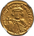 Ancients:Byzantine, Ancients: Constans II Pogonatus (AD 641-668). AV solidus (19mm,4.44 gm, 6h). NGC MS 4/5 - 4/5....