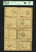 Colonial Notes:Continental Congress Issues, Continental Currency September 26, 1778 Uncut Half Sheet $60-$50-$40-$30/$20-$8-$7-$5 Fr. CC-86 to CC-79 PCGS Apparent Extreme...