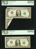 Error Notes:Foldovers, Fr. 1908-G $1 1974 Federal Reserve Notes. PCGS Choice About New58PPQ and 55PPQ.. ... (Total: 2 notes)