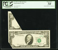 Error Notes:Foldovers, Fr. 2027-F $10 1985 Federal Reserve Note. PCGS About New 50.. ...