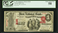 Lincoln, IL - $1 Original Fr. 382 The First NB Ch. # 2126 PCGS Choice About New 58