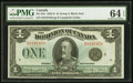 Canadian Currency, DC-25n $1 1923 PMG Choice Uncirculated 64 EPQ.. ...