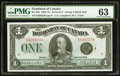 Canadian Currency, DC-25o $1 1923 PMG Choice Uncirculated 63.. ...