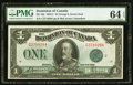 Canadian Currency, DC-25j $1 1923 PMG Choice Uncirculated 64 EPQ.. ...
