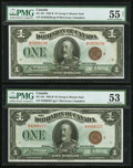 Canadian Currency, DC-25i $1 1923 Two Examples PMG About Uncirculated 53; PMG About Uncirculated 55 Net.. ... (Total: 2 notes)