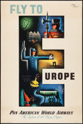 """Movie Posters:Miscellaneous, Fly to Europe (Pan American World Airways, 1949). Rolled, VeryFine-. Travel Poster (28"""" X 42"""") Jean Carlu Artwork. M..."""