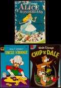 """Movie Posters:Animation, Alice in Wonderland & Others Comic Book Lot (Dell Publishing, 1951). Comic Books (3) (Multiple Pages, 7.5"""" X 10.5""""). Animati... (Total: 3 Items)"""