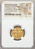 Ancients:Byzantine, Ancients: Heraclius (AD 610-641), with Heraclius Constantine andHeraclonas. AV solidus (21mm, 4.51 gm, 7h). NGC MS 4/5 - 3/5....