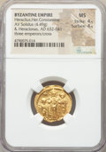 Ancients:Byzantine, Ancients: Heraclius (AD 610-641), with Heraclius Constantine andHeraclonas. AV solidus (20mm, 4.49 gm, 6h). NGC MS 4/5 - 4/5....