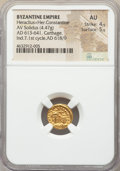 Ancients:Byzantine, Ancients: Heraclius (AD 610-641), with Heraclius Constantine. AVsolidus (13mm, 4.47 gm, 6h). NGC AU 4/5 - 5/5....