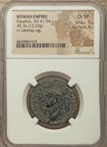 Ancients:Roman Imperial, Ancients: Claudius I (AD 41-54). AE as (29mm, 12.33 gm, 6h). NGCChoice VF 5/5 - 4/5....