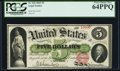 Large Size:Legal Tender Notes, Fr. 61b $5 1862 Legal Tender PCGS Very Choice New 64PPQ.. ...