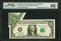 Error Notes:Foldovers, Fr. 1921-A $1 1995 Federal Reserve Note. PMG Gem Uncirculated 66EPQ.. ...