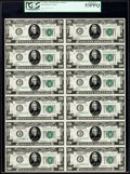 Fr. 2050-C $20 1928 Federal Reserve Notes. Uncut Sheet of Twelve. PCGS About New 53PPQ