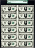 Fr. 2050-B $20 1928 Federal Reserve Notes. Uncut Sheet of Twelve. PCGS About New 53PPQ