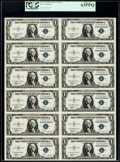Small Size:Silver Certificates, Fr. 1611 $1 1935B Silver Certificates. Uncut Sheet of Twelve. PCGS Choice New 63PPQ.. ...