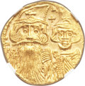 Ancients:Byzantine, Ancients: Constans II Pogonatus (AD 641-668), with Constantine IV,Heraclius and Tiberius (AD 659-668). AV solidus (20mm, 4.33 gm,7h). ...