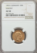 German States:Saxony, German States: Saxony. Albert gold 10 Mark 1901-E AU58 NGC,...