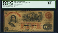 St. Louis, MO- Bank of St. Louis, at Kirksville Branch $5 Aug. 29, 1859 G40b PCGS Very Good 10