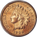 Indian Cents, 1908-S 1C MS65+ Red PCGS. CAC....