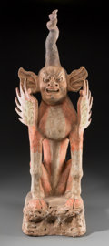 Asian:Chinese, A Chinese Painted Pottery Zhenmushou Earth Spirit, Tang Dynasty, 618-907. 32-1/2 inches high (82.6 cm). ...
