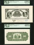 Canadian Currency, Quebec, PQ- The Quebec Bank $20 3.1.1911 Ch. # 620-50-06-UNL Faceand Back Proofs PCGS Very Choice New 64PPQ; Superb Gem N... (Total:2 notes)