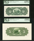 Canadian Currency, Quebec, PQ- The Quebec Bank $5 2.7.1901; 1.6.1908 Ch. # 620-46-02-UNL; 620-50-02-UNL Two Back Proofs PCGS Gem New 66PPQ; S... (Total: 2 notes)