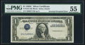 Error Notes:Inverted Third Printings, Fr. 1612 $1 1935C Silver Certificate. PMG About Uncirculated 55.. ...