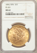 Liberty Double Eagles, 1896 $20 Repunched Date, FS-301, MS62 NGC. NGC Census: (36/50). PCGS Population: (37/47). MS62. ...